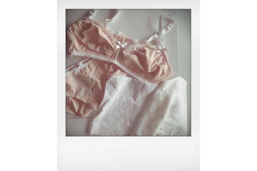 Lorna Drew nursing bra and vintage monogrammed handkerchiefs