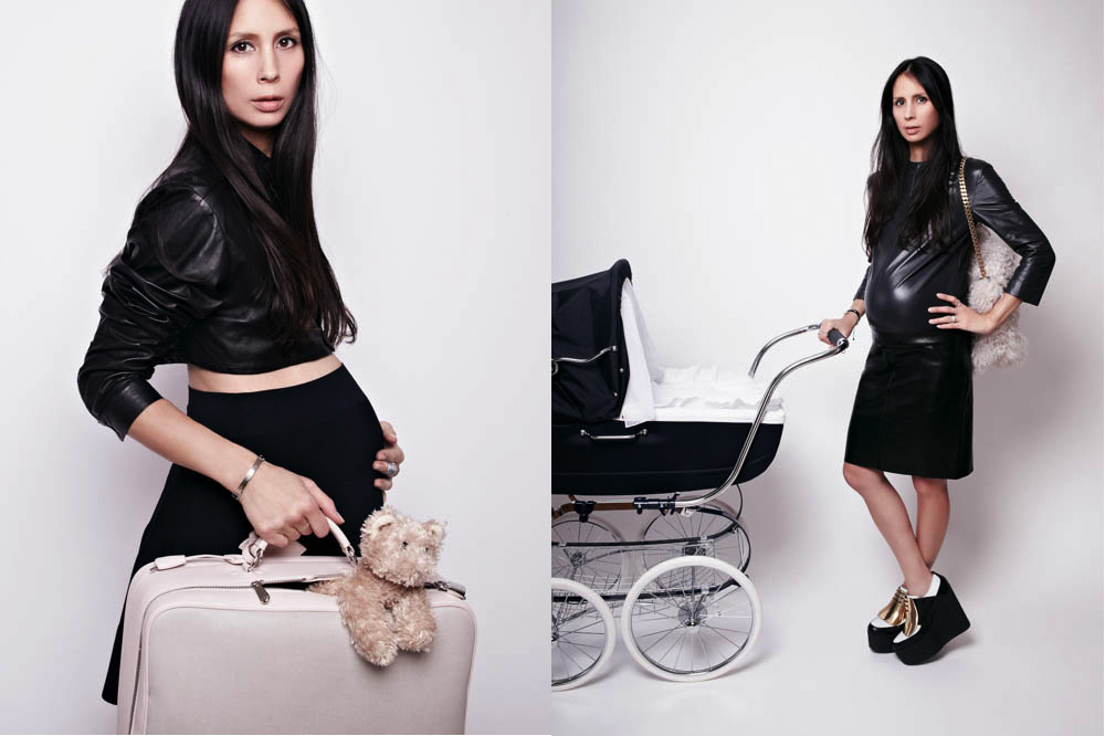 Left: Barbara Bui leather shirt and jersey skirt, Baby Dior changing bag, Bonpoint bear. Right: Céline leather dress, platforms, and fur bag. Le Chatelaine stroller.